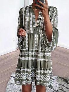 20568390c2 Women Green Elegant Printed Linen Swing Casual Dresses. LELEYAJA. Casual Dresses  Plus SizeElegant ...