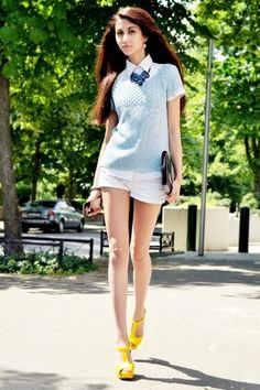 top - Tom Tailor, shorts - Zara Tailored Shorts, Zara Shorts, Yellow Shoes, Fashion Outfits, Womens Fashion, Street Style, Clothes, Dresses, Top