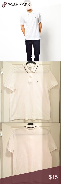 Lacoste White Polo Lacoste Men's size 5 which is equivalent to a medium. Has been worn and washed but in great condition. Slight faded mark on back that is not noticeable when worn (see picture). Open to offers! Lacoste Shirts Polos