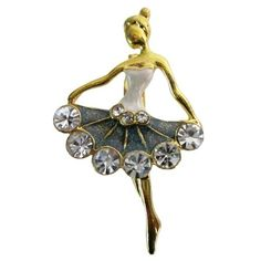 Price :$6.49 Ballet Dancer Brooch Vintage Dancer Brooch Material Used: Gold Plated and glittered  Color: Gold/Silver Brooch Length: 1 3/4 inches long and 1 inch wide