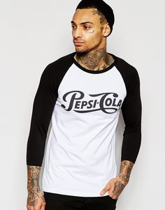 Image 1 of ASOS 3/4 Sleeve Muscle Contrast Raglan With Pepsi Print