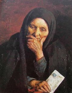 "Yehuda Pen. ""Letter from America"" ​​.1903. An old Jewish woman and a letter from America. Apparently, from his son."