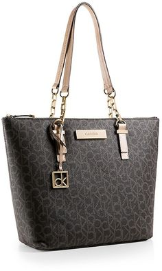 Calvin Klein Womens Jordan Logo Zip Top Tote Bag