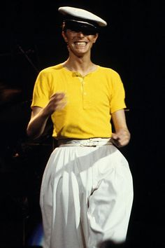 In a sailor cap and parachute pants on his Low/Heroes tour at Madison Square Garden.