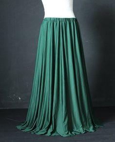A beautiful full length skirt. Made from high quality jersey. Extremely soft , stretchy, very comfortable to wear. Nice cut at hem and no hemmed required. Elastic waistband. Made to your size and length. We can make for women, teen ages or kids. ★Color in this listing: Deep Green