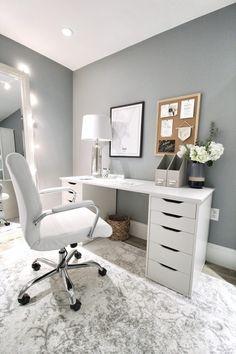 Bedroom Desk, Room Design Bedroom, Room Ideas Bedroom, White Bedroom, Ikea Alex Desk, Ikea Alex Drawers, Desks At Ikea, White Desk With Drawers, Home Office Design