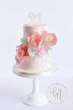 Blush pink cake with white painted floral design and assorted pastel wafer paper flowers. Happy Birthday Flower Cake, Pink Birthday Cakes, Pretty Cakes, Beautiful Cakes, Amazing Cakes, Beautiful Things, Barbie Cake, Cake Gallery, Elegant Cakes