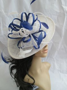 White  amp  Blue Fascinator ..Sinamay Fascinator shaped disc set on a  Headband   5da50007060