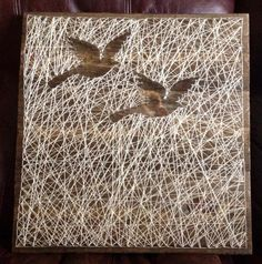 Reverse String Art of Birds by NailedItDesign on Etsy, $49.00