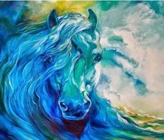 Abstract Horse Paintings - Wave Runner Blue Ghost Equine by Marcia Baldwin Horse Drawings, Art Drawings, Horse Artwork, Blue Horse, White Horses, Equine Art, Animal Paintings, Horse Paintings, Pastel Paintings
