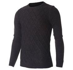 Men's Slim Fit Crewneck Waffle Pattern Cable Nep Yarn Sweater (SW303) #FLATSEVEN FLATSEVENSHOP.COM