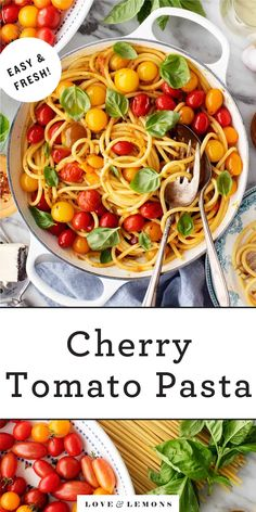 This cherry tomato pasta is a simple, delicious summer dinner! The bursty tomatoes create a light, flavorful sauce for bucatini pasta. Fresh basil takes it over the top. Tomato Pasta Recipe, Cherry Tomato Pasta, Cherry Tomatoes, Summer Pasta Dishes, Summer Pasta Recipes, Vegetable Recipes, Vegetarian Recipes, Cooking Recipes, Healthy Recipes