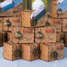 This Vintage Inspired Airmail Destination Wedding Favor Box kit includes boxes, twine, 5 globe charms and 5 compass charms.