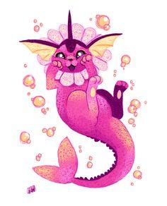 Shiny Vaporeon, Water Type Pokemon, Pokemon Eeveelutions, Cute Pokemon Wallpaper, Cute Pictures, Rainbow, Fan Art, Canvas, Disney Characters