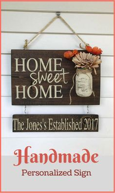 Handmade sign from Etsy. Rustic home decor. Choice of stain color and font. #ad #farmhouse
