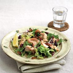 Grilled trout, bacon and almond salad recipe Trout Recipes, Easy Fish Recipes, Costco Rotisserie Chicken, Grilled Trout, Teriyaki Beef, Mint Sauce, Shellfish Recipes, Delicious Magazine, Dinner Salads