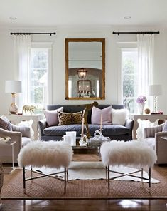 Love the furry stools and leopard print pillow