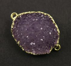 Dazzling Druzy Oval Connector Amethyst Tones Double by Beadspoint