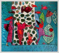 Elke Trittel acrylics,collages on paper 36x36cm