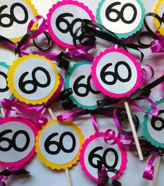 60th Birthday Table Decorations Ideas fun parties centerpieces for 60th birthday tables 60th birthday bash creative in color 60th Birthday Decorations Cupcake Toppers Via Etsy