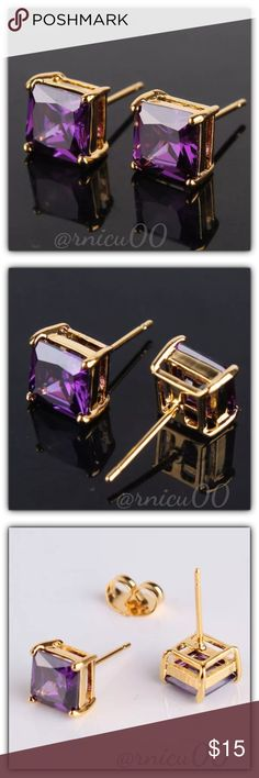 """Princess Amethyst 7mm 18K Gold Stud Earrings! These Princess Cut Earrings are Definitely a Favorite! Perfect Size 7mm (0.3"""") Square Stones; Very Versatile, wear daily or Simple Classy! (gspa5-2717-0249)  🔆Part of """"Customer Favorite"""" 1X Re-Stock Sale Event! - Please see last pic for Manufacturers description (States White Gold, Same as White Gold but these are 18K Yellow Gold) - Will ship Securely in Jewelry Box👌  *ALL items Marked at Absolute LOWEST Price unless Bundled! *NO TRADES *Sales…"""