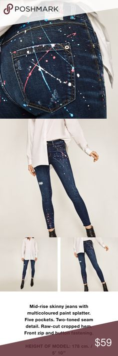 🆕Zara Mid risepaint splatter jeans Brand new with tags, sold out🙌🏻 size Us 6- Eur 38 Zara Jeans Skinny