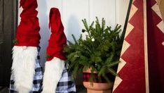 Make Festive Tomato Cage Yard Gnomes for Christmas   HGTV Modern Christmas Decor, Christmas Tree Design, Wooden Christmas Trees, Christmas Yard, Outdoor Christmas Decorations, Christmas Crafts, Holiday Decor, Picture Christmas Ornaments, Christmas Tree Painting
