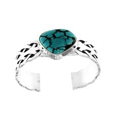 Natural #Turquoise #Cuff #Bracelet In Sterling #Silver With Weave Pattern #jewelry