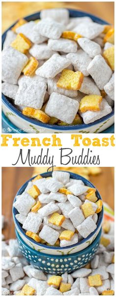 These French Toast Muddy Buddies are so addicting, you will not be able to put them down! Puppy Chow Recipes, Snack Mix Recipes, Dessert Recipes, Snack Mixes, Chex Mix Muddy Buddies, Muddy Buddies Recipe, Cereal Treats, No Bake Treats, Delicious Desserts