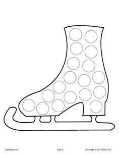 Ice Skate Do-A-Dot Coloring Page