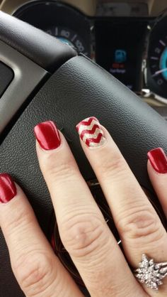Red Chevron #Nails #Beauty #Gifts #Holidays #Nails Visit Beauty.com for more.