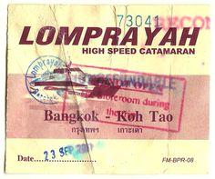 Thailand. Lomprayah combination bus/ferry ticket. Bangkok – Chumphon – Ko Tao