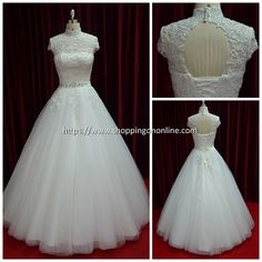 Wedding Dress - Cap Sleeves High Collar  $499.99 (was $624.99) Click here to see more details http://shoppingononline.com/wedding-dresses-with-sleeves/wedding-dress-cap-sleeves-high-collar.html #CapSleevesWeddingDress #HighCollarWeddingDress #CapSleeves #HighCollar #OpenBackWeddingDress #WeddingDress