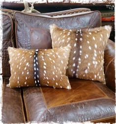 Axis Deer Hide Accent Pillow - Axis Hide Pillows - Your Western Decor Farm House Living Room, Deer Hide, Hide Pillows, Home Decor, Rustic Home Decor, Pillows, Trophy Rooms, Living Room Designs, Rustic House
