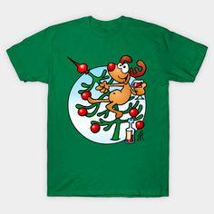 Reindeer in a Christmas tree T-shirt design. #christmas #Tshirt #reindeer #christmastree #Teepublic #Cardvibes #Tekenaartje