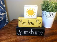 Wood Sign Blocks You Are My Sunshine Primitive Wood Blocks Birthday Gift Baby…