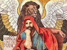 Mark the Evangelist, author of the second Gospel. Pray for us! O Mary, conceived without sin, pray for us who have recourse to thee. San Marcos Evangelista, St Mark The Evangelist, Lion And Lioness, Orisha, Pray For Us, Catholic Saints, New Testament, Religious Art, Gods Love