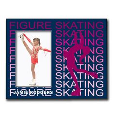 Personalized Figure Skating Wood Frame with Figure Skating Fade - Our 8in X 10in wood frame features a 4in X 6in opening to fit your photo and a customized area for your text.
