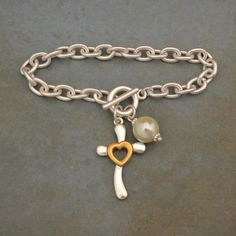 Matte Two Tone Heart Cross Toggle Bracelet with Pearl Accent, $9.98 // A great addition to any bracelet stack and a constant reminder to always have faith!
