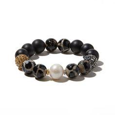 Leopard, Onyx and Freshwater Pearl Multi Pavé Bracelet