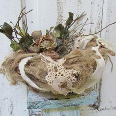 Handmade burlap birds nest adorned with roses shabby farmhouse style made with burlap, muslin, torn crochet lace