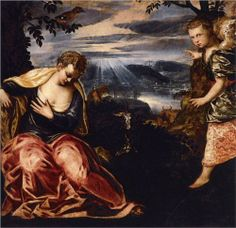 The Annunciation to Manoah's Wife - Tintoretto.  1555-58.  Oil on canvas.  150 x 155 cm.  Museo Thyssen-Bornemisza, Madrid, Spain.