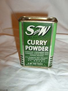 Antique  S and W Fine Foods Spice Tin Litho Can, Curry Powder kitchen display   #SandWFineFoodsinc