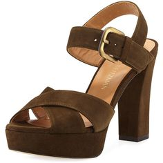 Stuart Weitzman Exhale Suede Platform Sandal (11 835 UAH) ❤ liked on Polyvore featuring shoes, sandals, olive, suede sandals, ankle strap platform sandals, ankle wrap sandals, suede shoes and platform sandals