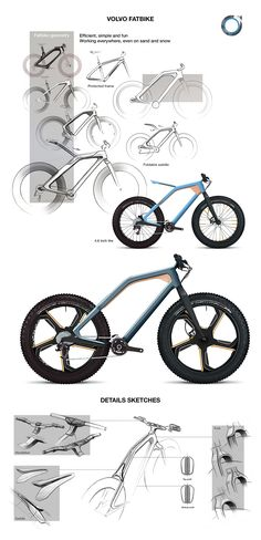 "Fatbike for automotive brand VOLVO. Be safe, Be free : the bike is working everywhere. There are a foldable saddle to easily move the bike on a bike rack.This concept is part of ""2027 - Volvo NextGen Project""."