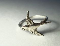 Swallow Ring Hammered Sterling Silver Ring by fifthheaven on Etsy, $32.50
