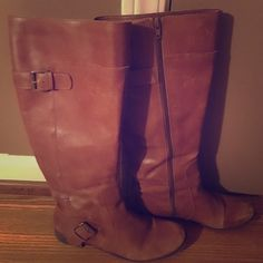 Nine West Riding Boots Nine West Riding Boots in camel brown. These are fabulous boots to pair with skinny jeans or leggings for a fashion forward look while staying comfortable! Nine West Shoes Winter & Rain Boots