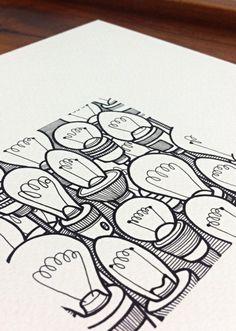light bulbs art - 'lit' - an original illustration of hand drawn lightbulbs in black and white