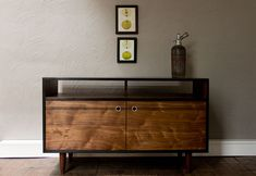 Burnt Media Console - Oxidized Black Walnut TV Console with Aluminum pulls