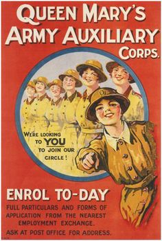 British WW1 recruitment poster - 'Queen Mary's Army Auxiliary Corps - Enrol Today'